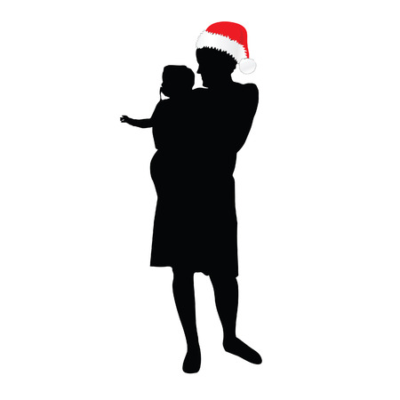 laying little: mom with christmas hat and daughter silhouette