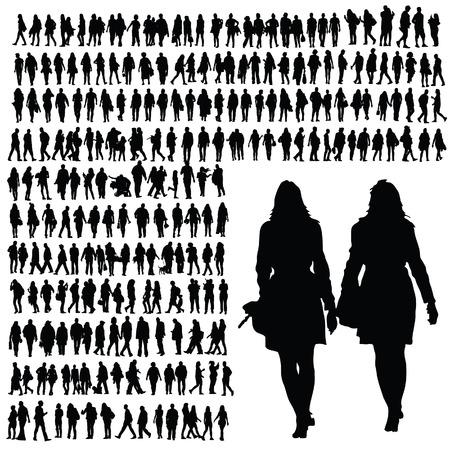 people walking silhouette black illustration on white  イラスト・ベクター素材
