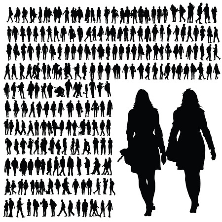 people walking silhouette black illustration on white Ilustração