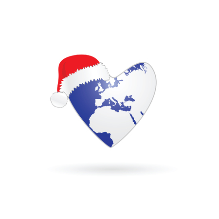 worldwide wish: planet earth in heart with christmas hat in colorful