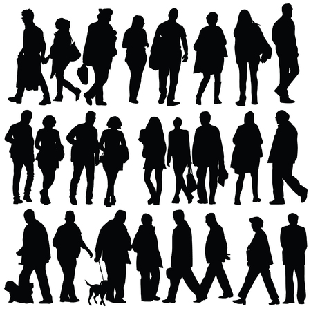 worker silhouette: people silhouette walking on white background