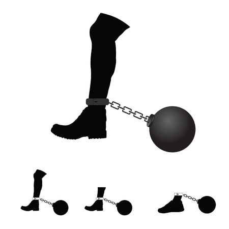 metal legs: prison ball on leg illustration