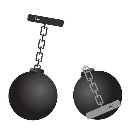 prison ball cartoon illustration Illustration
