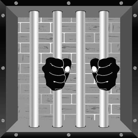 lockup: prison window with hands on the bars illustration Illustration