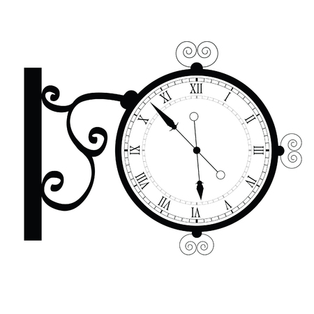 watch movement: clock ancient black vector illustration