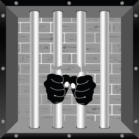 prison cell: prison bars freedom cell with hand vector illustration