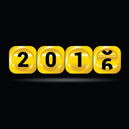 counter 2016 gold vector on black Illustration