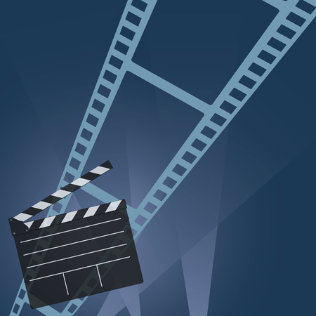 film industry: film tape movie vector in colorful Illustration