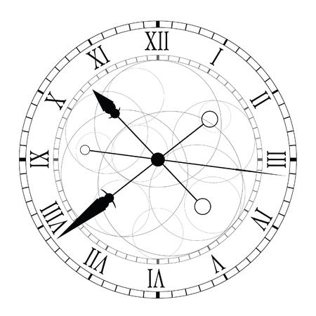 number twelve: clock ticking black vector illustration