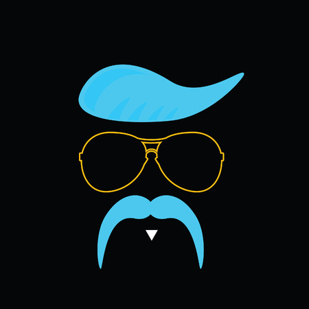 actual: face with mustache blue vector illustration