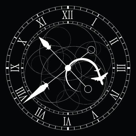 number 12: clock old white vector on black background Illustration