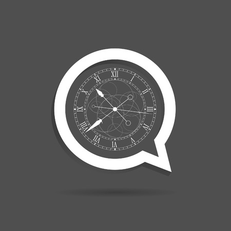 speech bubble vector: clock in speech bubble vector on grey Illustration