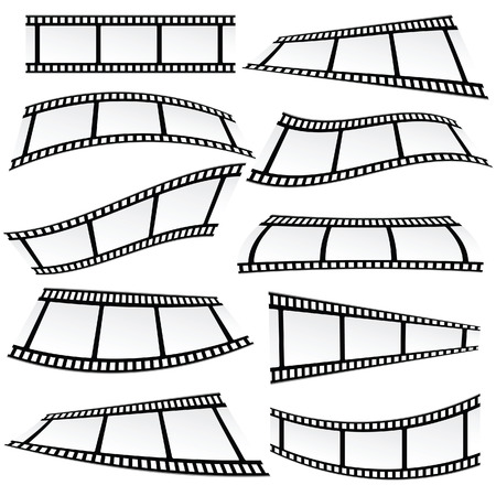film industry: film tape set roll vector illustration