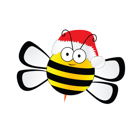 bee sweet with christmas hat red vector in colorful