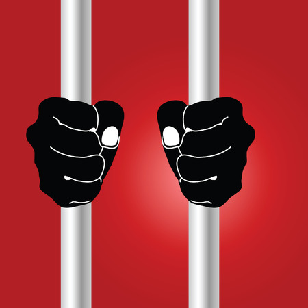 jailhouse: hand holding prison bars illustration on red background