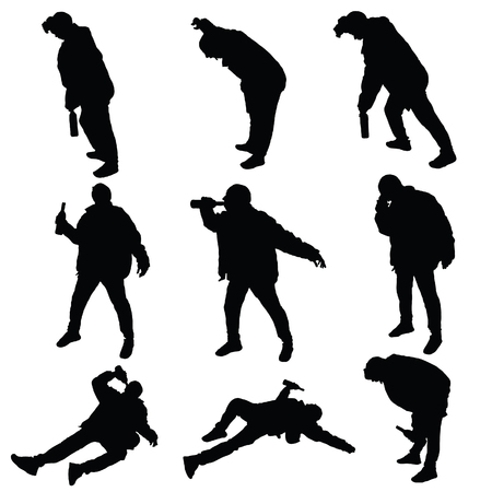 drunk man vector silhouette illustration  イラスト・ベクター素材
