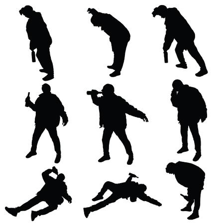 drunk man vector silhouette illustration Ilustracja
