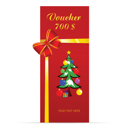 christmas tree illustration: voucher with christmas tree vector in colorful illustration Illustration