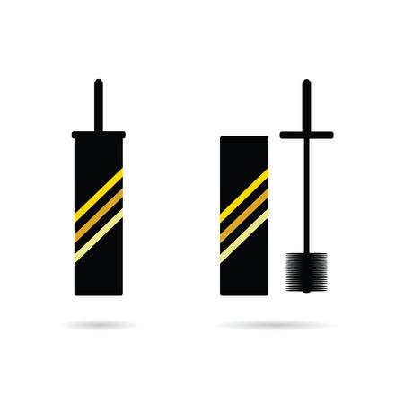 toilet brush: toilet brush tool vector in black illustration