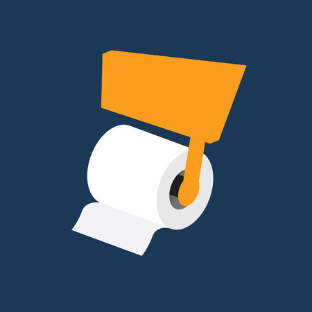 watercloset: toilet paper roll vector on blue