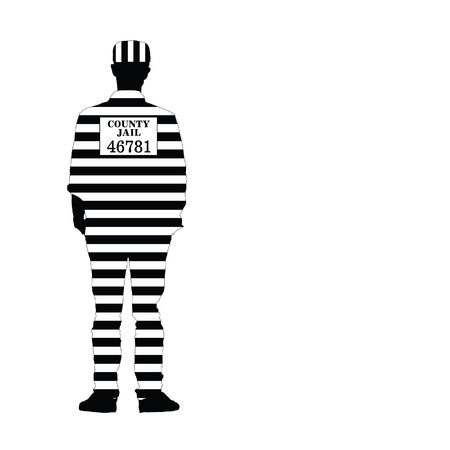 desperate: man in jail vector silhouette illustration Illustration