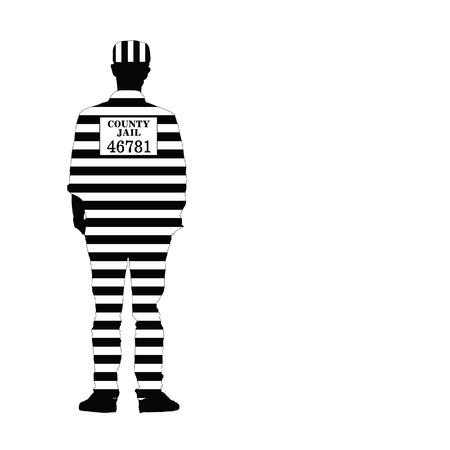 man in jail: man in jail vector silhouette illustration Illustration