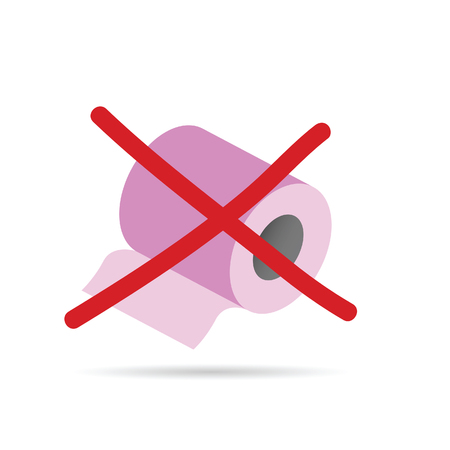 watercloset: toilet paper roll vector in pink color