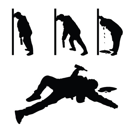 drunk man vector silhouette illustration Stock Illustratie