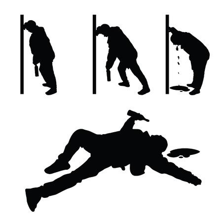 drunk man vector silhouette illustration Illustration