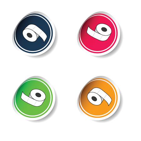 toilet roll: sticker of toilet paper roll vector illustration