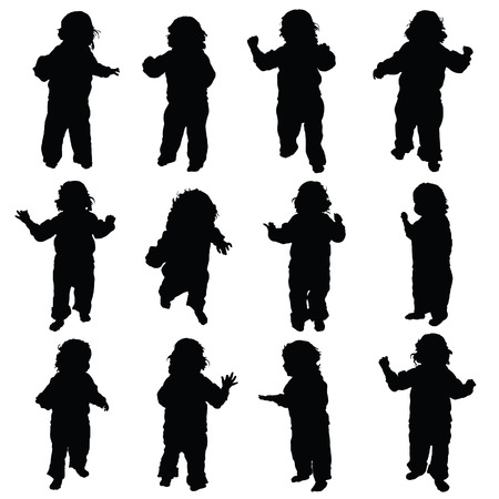 child standing: child standing vector happy silhouette