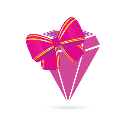 topaz: diamond pink vector with bow illustration