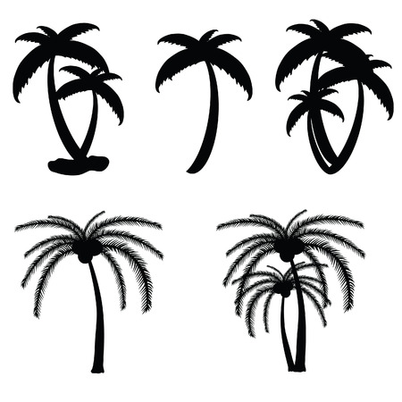 island cartoon: palm tree vector in black color illustration