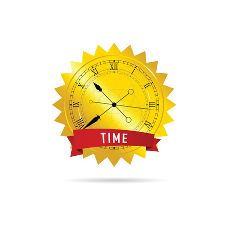 clock vector with gold and red ribbon