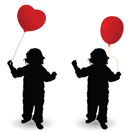 red balloon: child holding red balloon heart vector silhouette in colorful