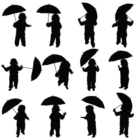 standing figure: child with umbrella vector silhouette in black color