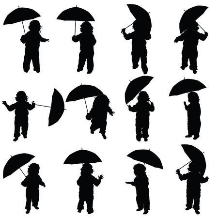 kinderen: kind met paraplu vector silhouet in zwarte kleur Stock Illustratie