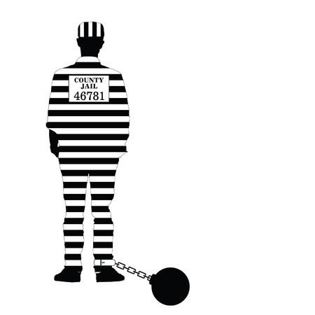 prisioner met bal illustratie in zwart-witte kleur Stock Illustratie