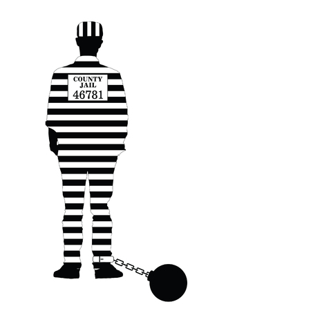 jailbird: prisioner with ball illustration in black and white color
