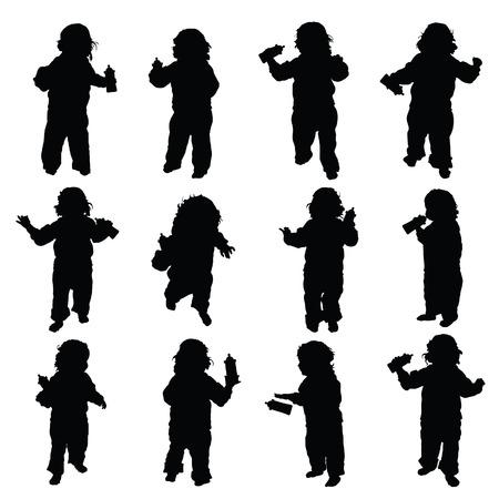enfant avec le vecteur de biberon en couleur noire Vecteurs