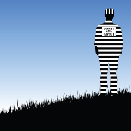 lockup: prisioner county jail illustration in nature freedom Illustration