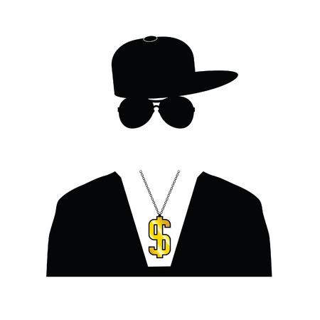 ilustración rapero con la cadena de dólar en blanco