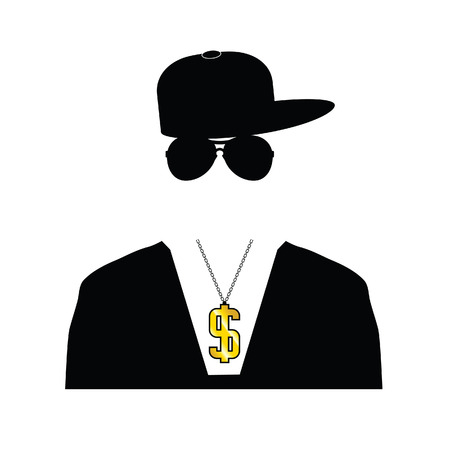 rapper illustration with dollar chain on white