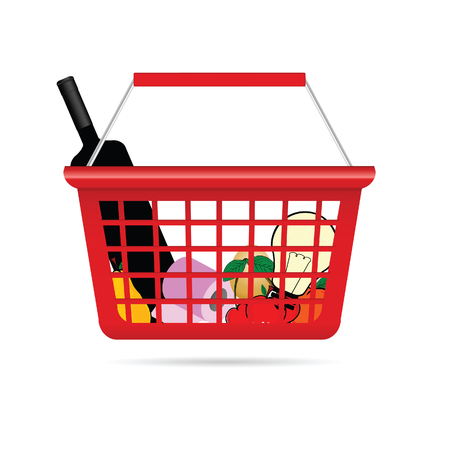 toilet paper art: shopping basket illustration with product in colorful