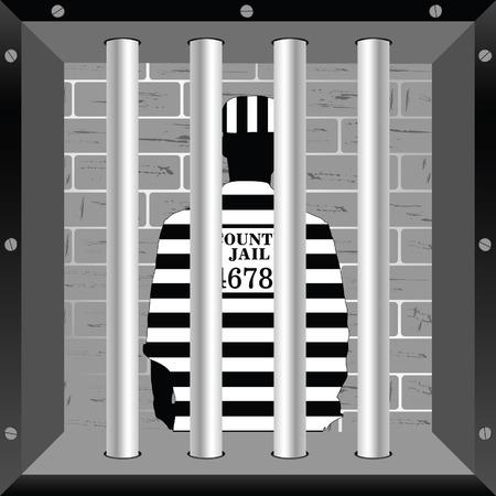 jail cell: prisioner in cell jail illustration silhouette Illustration