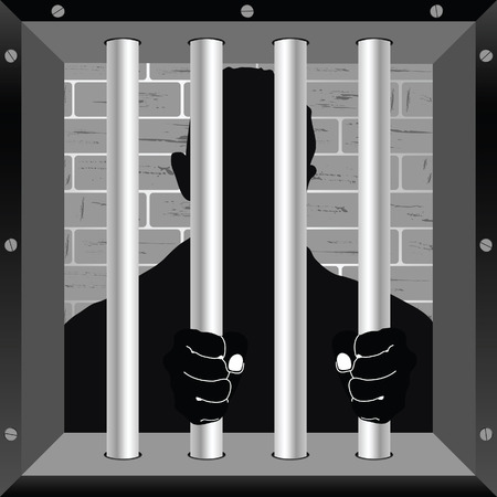 lockup: prisioner in cell jail illustration