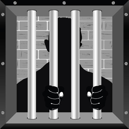 jail cell: prisioner in cell jail illustration