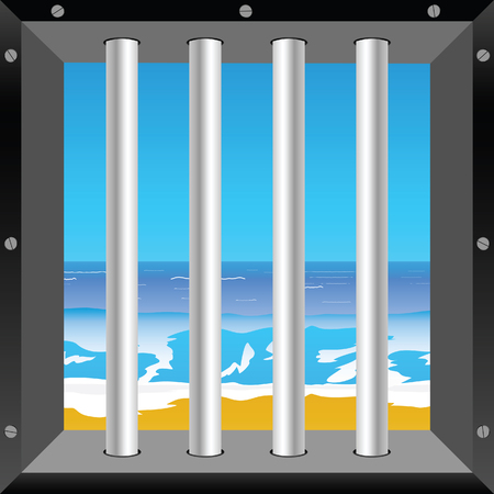 lockup: beach in cell illustration in colorful