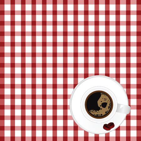 a tablecloth: cup of coffe with bean on tablecloth illustration in colorful