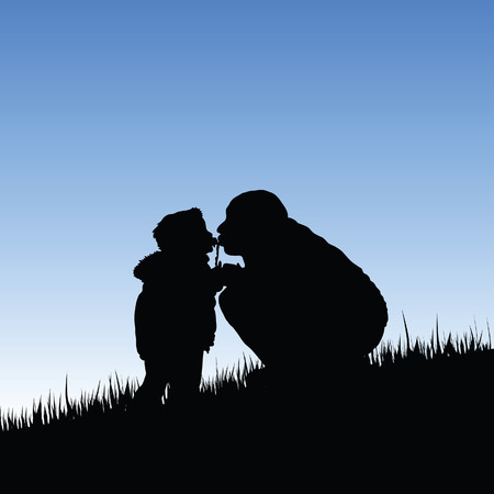 father and child: child kiss father illustration in nature Illustration